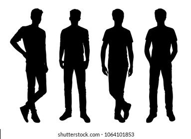 Vector silhouettes of men  standing, business people, group,  black color,  isolated on white background