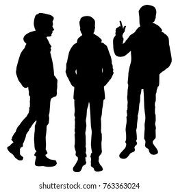 Vector silhouettes of men standing, different poses, group people,  black color, isolated on white background
