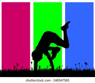 Vector silhouettes of men who dance on a colored background.