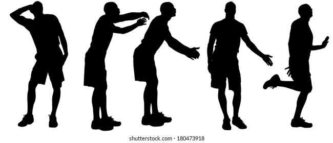 Vector silhouettes of men who are gay.