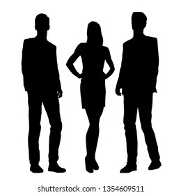 Vector silhouettes of  men and a woman, a couple of standing business people, black color isolated on white background