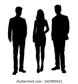 Vector silhouettes of  men and a woman, a group of standing business people, black color isolated on white background