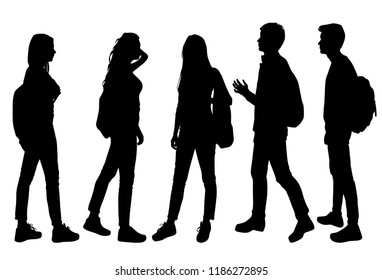 Vector silhouettes of men and women with backpack, standing, various poses, business, people, band, black color, isolated on white background