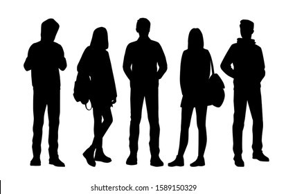 Vector silhouettes of  men and a women with backpack, a group of standing business people, black color isolated on white background