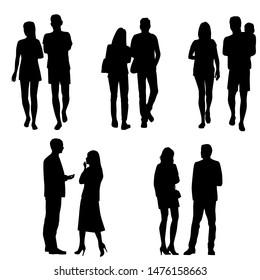 Vector silhouettes of  men and a women, couple, a group of standing and walking business people, black color isolated on white background