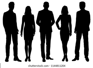Vector silhouettes men and women standing, business,  people, group,  black color, isolated on white background