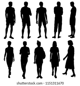 Vector silhouettes men and women standing and walking, business,  people, group,  black color, isolated on white background