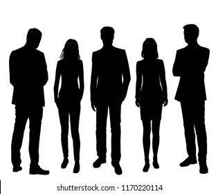 Vector silhouettes men and women standing, different poses,  business,  people, group,  black color, isolated on white background
