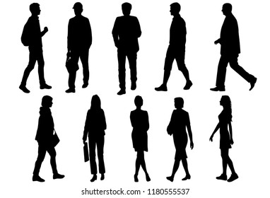 Vector silhouettes men and women standing and walking, different poses,  business,  people, group,  black color, isolated on white background