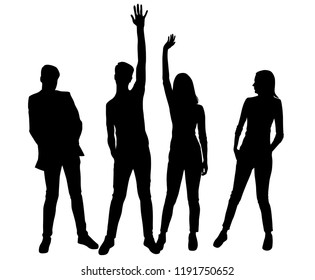 Vector silhouettes men and women standing , profile, hands up, different poses, couple,  business,  people, group,  black color, isolated on white background