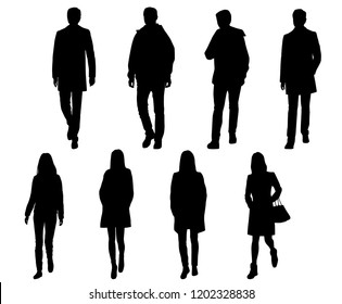 Vector silhouettes men and women standing and walking, outerwear, different poses,  business,  people, group,  black color, isolated on white background