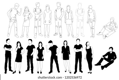 Vector silhouettes men and women standing and sitting, different poses,  business,  people, group, drawing  linear sketch,  black color, isolated on white background