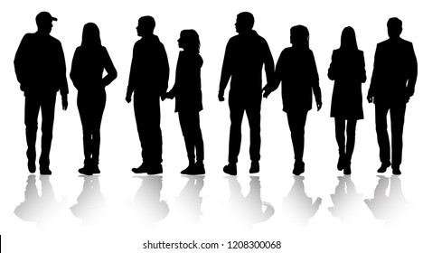 Vector silhouettes men and women standing and walking, outerwear, different poses,  business, profile, people, group, shadow, black color, isolated on white background