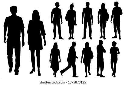 Vector silhouettes men and women standing, business  people group,  black color, isolated on white background