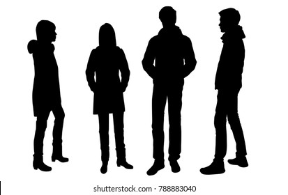 Vector silhouettes of men and women standing, outerwear, business group people, different poses, profile,  black color, isolated on white background