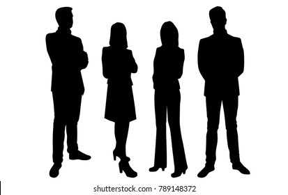 Vector silhouettes of men and women standing, business group people, different poses, profile,  black color, isolated on white background