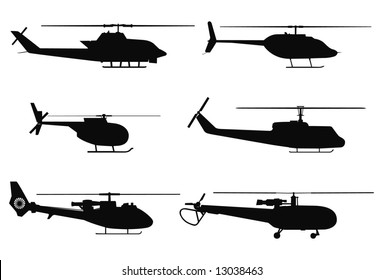 Vector silhouettes of military helicopters.