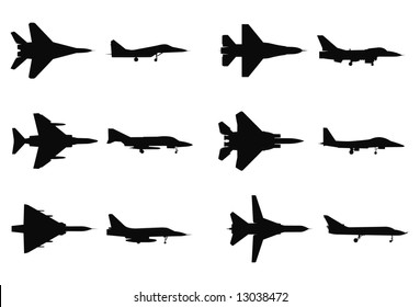 Vector silhouettes of military jets.