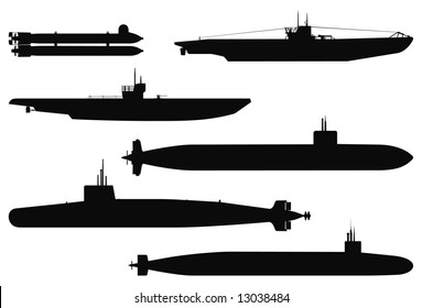 Vector silhouettes of military submarines.