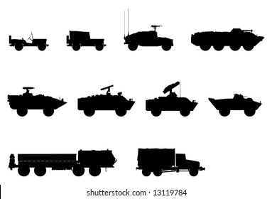 Vector silhouettes of military vehicles.