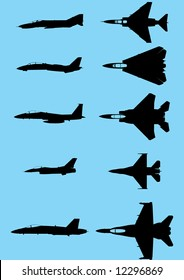 The vector silhouettes of the modern US fighters