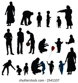 Vector silhouettes of mother, father and child (boys, girls)