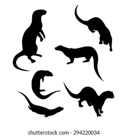 Vector silhouettes of a otter.
