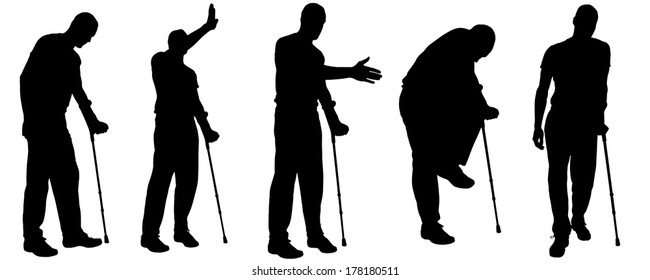 Vector silhouettes of people with crutches on white background.