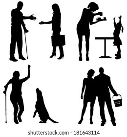 Vector silhouettes of people in different situations.