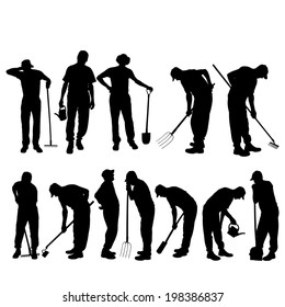 Vector silhouettes of people for gardening tools.