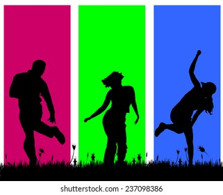 Vector silhouettes of people on a colored background.