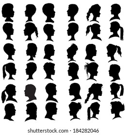 Vector silhouettes people in profile on white background.