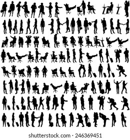Vector silhouettes of people in set on a white background.