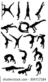 Vector Silhouettes of people in sport and outdoor activity
