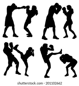 Vector silhouettes of people in sports on a white background.