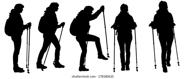 Vector silhouettes of people with trekking stick on a white background.