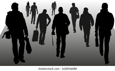 Vector silhouettes of people walking forward, men, back view, crowd of pedestrians, in warm clothes, summer, different time of the year. Sumy buyers, tourists with cameras, businessmen with briefcase.