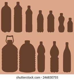 Vector Silhouettes of Plastic Bottles