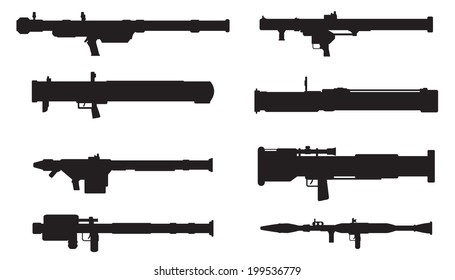 Vector silhouettes of portable missile complex  and grenade launchers,bazooka,manpads