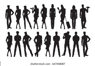 Vector silhouettes of professional people in different pose and clothes on white background
