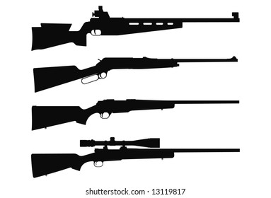 Vector silhouettes of rifles.