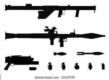 Vector silhouettes of rocket and grenade launchers