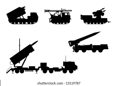 Vector silhouettes of rocket launchers.