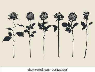 Vector Silhouettes of Roses Minimalistic Set