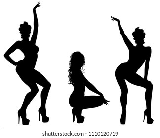 Vector silhouettes of sexy pinup girls in dance shoes. Shapes of beautiful dancing woman in different poses. Beauty and fashion model icons isolated on white background.