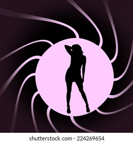 Vector silhouettes of sexy woman in a circular frame.