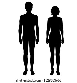 Vector silhouettes shapes woman and man , standing, black color, isolated on white background