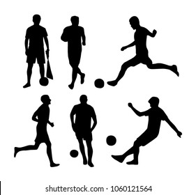 Vector silhouettes of soccer players