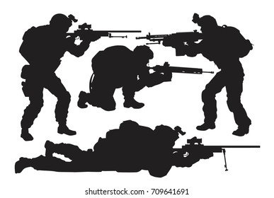 vector silhouettes of soldiers ready to shoot