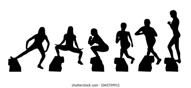 Vector silhouettes of step platform exercisers
